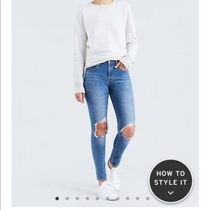 Levi's 721 high rise ripped Skinny size 27